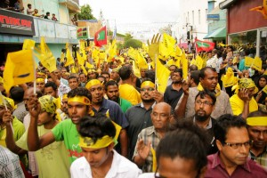 A recent rally attended by over 8,000 supporters launches the MDP manifesto, a plan based on what Nasheed learned from walking door to door to enquire the thoughts and needs of the country. Photo: Jaawid Naseem