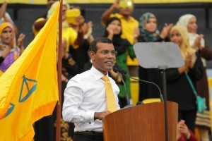 Nasheed addresses his supporters days before the election with a gleam of optimism Photo: Jaawid Naseem