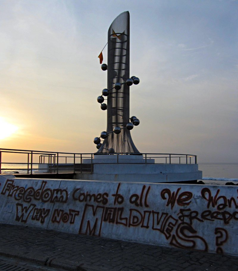 "Displayed against the backdrop of the 2004 Tsunami monument, the message ""Freedom come to all, Why not the Maldives?"" is posed to the world. Photo: maldivesculture.com"