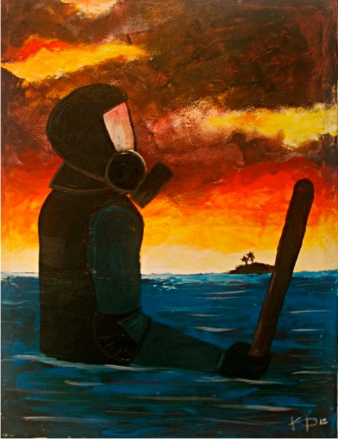 Painting displayed at the MDP Exhibition of Public Inquiry (XOPI) following the coup. As rising seas threaten the small island country, one must ask what is already sinking. A solitary policeman stands waist deep in riot gear, suggesting the loss of justice after three years of hard-won democrac