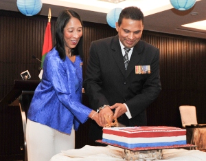 US Ambassador Sison and Baaghee Nazim cosy up during Forth of July celebrations Photo: US Virtual Presence Post website