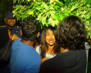 Nazra Naseem, MP Mahloof's wife, at the time Mahloof was being led away by police