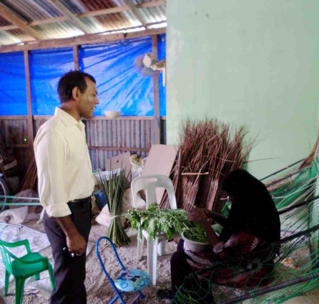 Woman cutting muran'ga leaves in Filladhoo
